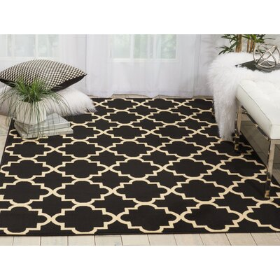 Brechin Black Indoor Area Rug Rug Size: 53 x 73