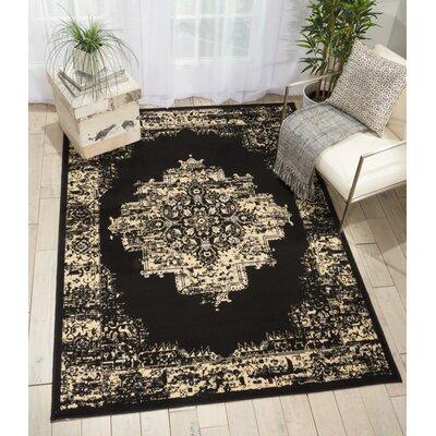 Nassirah Black Area Rug Rug Size: 53 x 73