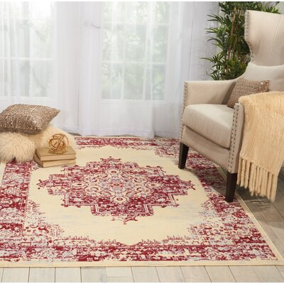 Nassirah Cream/Red Area Rug Rug Size: 53 x 73