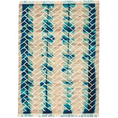 Ibiza Hand-Woven Turquoise/Beige Indoor Area Rug