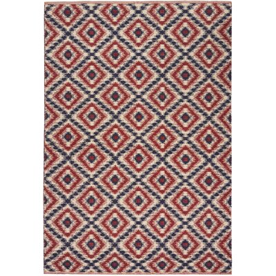 Burley Hand-Woven Blue/Red Indoor Area Rug