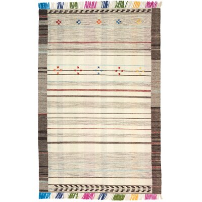 One-of-a-Kind Leach Hand-Woven Ivory Indoor Area Rug