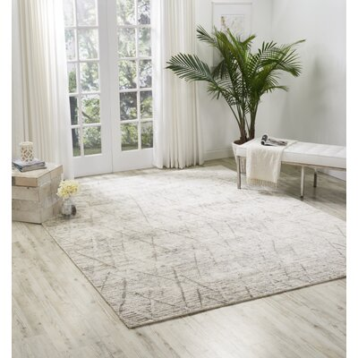 Carter Hand-Knotted Stone Area Rug Rug Size: Rectangle 56 X 75