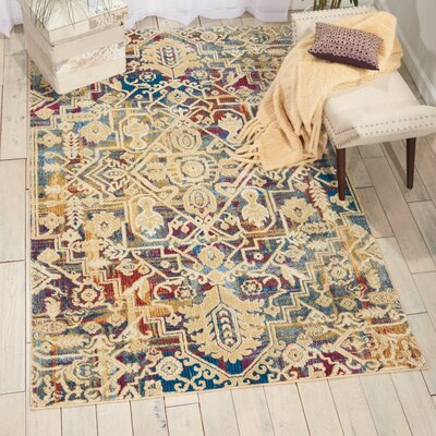 Landen Beige/Blue Area Rug Rug Size: Rectangle 311 x 511