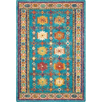 Zosia Hand Tufted Wool Teal Area Rug Rug Size: 4 x 6