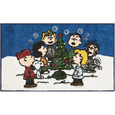 Peanuts Buddies Blue/White Area Rug Rug Size: Rectangle 16 X 26