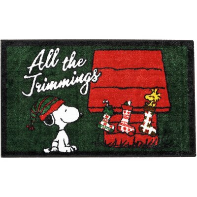 Peanuts Buddies Green/Red Area Rug