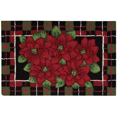 Everywhere Hand Hooked Black/Green/Red Area Rug