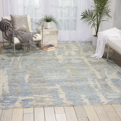 Aroon Hand-Knotted Blue Area Rug Rug Size: Rectangle 99 x 139