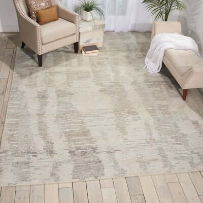 Aroon Hand-Knotted Ivory Gray Area Rug Rug Size: Rectangle 79 x 99
