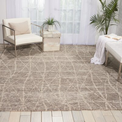 Aroon Hand-Knotted Sand Area Rug Rug Size: Rectangle 86 x 116