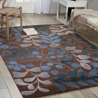 Brittni Hand-Tufted Mocha/Blue Area Rug Rug Size: Rectangle 73 x 93