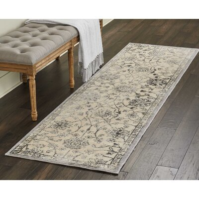 Gerald Traditional Ivory/Gray Area Rug Rug Size: Runner 23 x 8