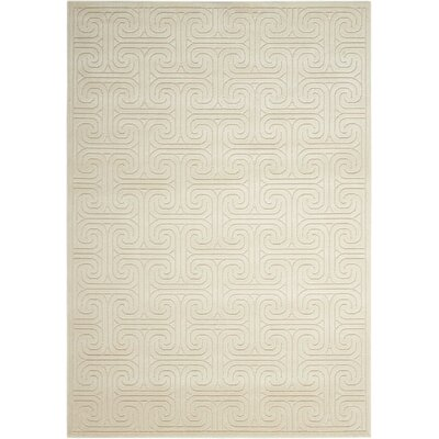 Interlock Ivory/Beige Indoor Area Rug Rug Size: Rectangle 53 x 75