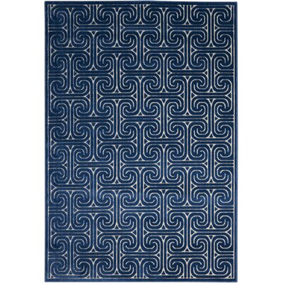 Interlock Ivory/Navy Indoor Area Rug Rug Size: Rectangle 53 x 75