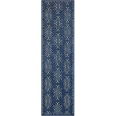 Interlock Ivory/Navy Indoor Area Rug Rug Size: Runner 23 x 8