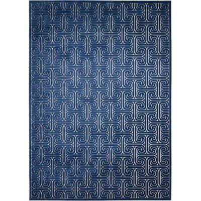 Interlock Ivory/Navy Indoor Area Rug Rug Size: Rectangle 79 x 1010