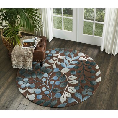 Holmes Hand Tufted Brown/Gray Area Rug Rug Size: Round 5