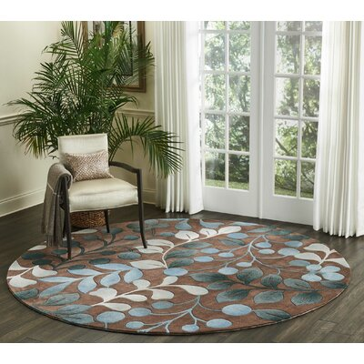 Holmes Hand Tufted Brown/Gray Area Rug Rug Size: Round 8