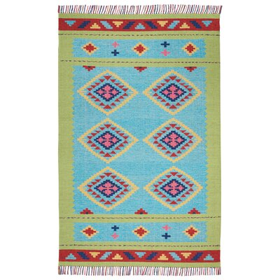 Rocky Hand Woven Blue/Green Area Rug Rug Size: Rectangle 36 x 56