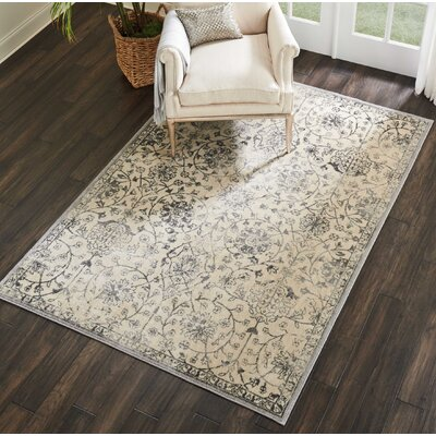 Gerald Traditional Ivory/Gray Area Rug Rug Size: Rectangle 36 x 56