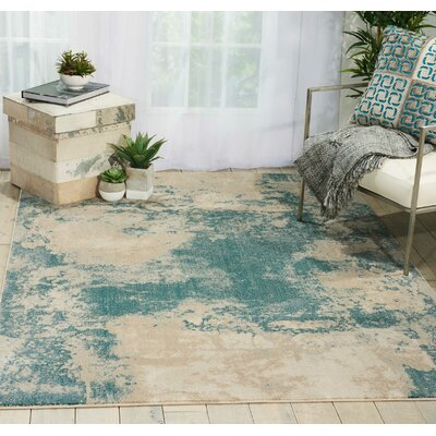 Mana Ivory/Teal Area Rug Rug Size: Rectangle 93 x 129