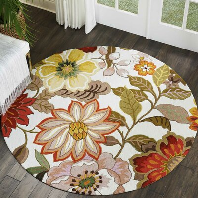 Kriszara Hand Hooked Green/Red Area Rug Rug Size: Round 76