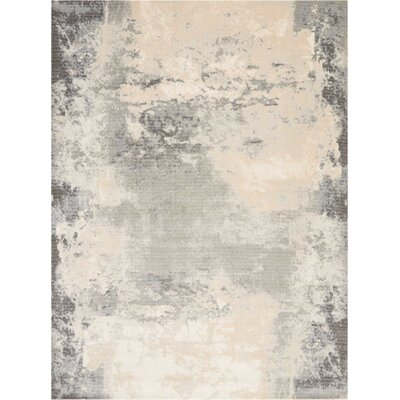 Mana Ivory/Gray Abstract Area Rug Rug Size: Rectangle 710 x 106