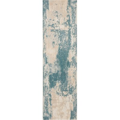 Mana Ivory/Teal Area Rug Rug Size: Runner 22 x 76