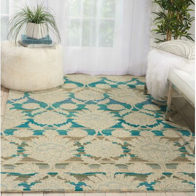 Cortese Hand Tufted Wool Ivory/Teal Area Rug Rug Size: Rectangle 36 x 56