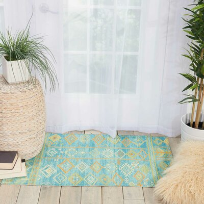 Wilkerson Sky Blue Area Rug Rug Size: Rectangle 36 x 56