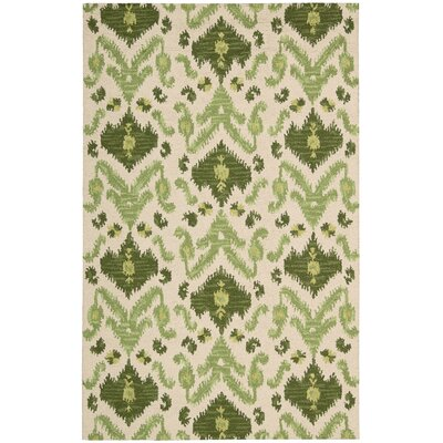 Siam Ivory/Green Hand-Tufted Area Rug Rug Size: 36 x 56