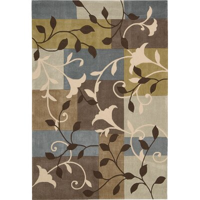Kelsey Hand-Tufted Beige/Blue Area Rug Rug Size: Rectangle 73 x 93