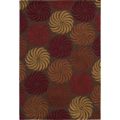 Gemini Hand-Tufted Red/Brown Area Rug Rug Size: Rectangle 36 x 56