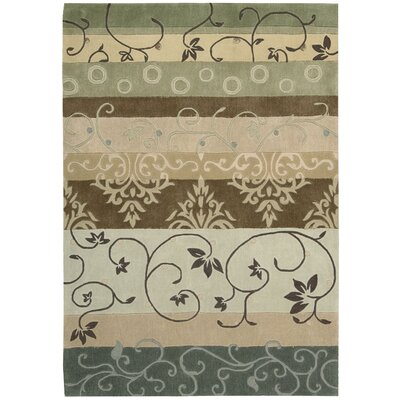Brittni Hand-Tufted Beige/Green Area Rug Rug Size: Rectangle 73 x 93
