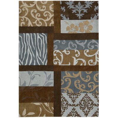 Dovewood Blue/Brown Area Rug Rug Size: Rectangle 36 x 56