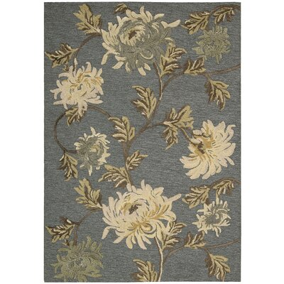 Sunburst Hand-Tufted Blue/Ivory Area Rug Rug Size: 36 x 56