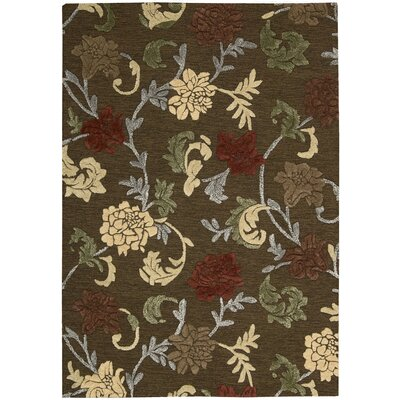 Sunburst Hand-Tufted Brown Area Rug Rug Size: 36 x 56