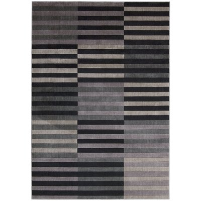 Utopia Black/Gray Area Rug Rug Size: 36 x 56
