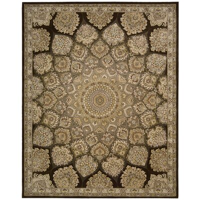 Nourison Hand Woven Wool Brown/Beige Indoor Area Rug Rug Size: Oval 76 x 96