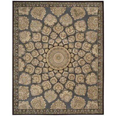Nourison Hand Woven Wool Slate/Beige Indoor Area Rug Rug Size: 86 x 116