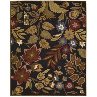 In Bloom Hand-Tufted Brown Area Rug Rug Size: 53 x 74