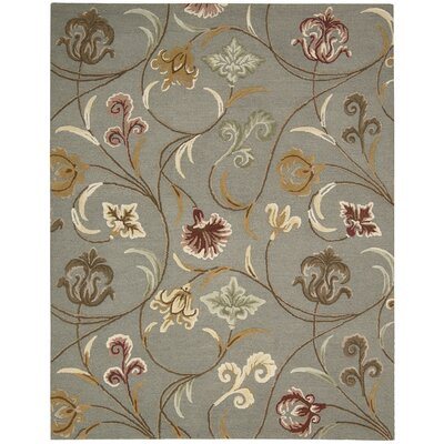 In Bloom Hand-Tufted Gray Area Rug Rug Size: 76 x 96