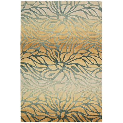 Contour Hand-Tufted Gold/Gray Area Rug Rug Size: 73 x 93