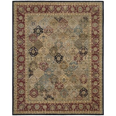 Dunbury Hand Woven Wool Beige/Red Indoor Area Rug Rug Size: Rectangle 99 x 139