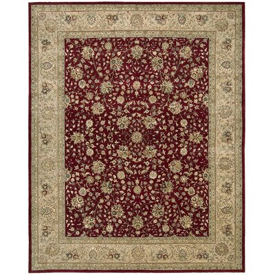 Ellerswick Hand Woven Wool Burgundy/Tan Indoor Area Rug Rug Size: Oval 76 x 96