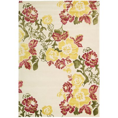 Wildflowers Ivory/Yellow Area Rug Rug Size: 56 x 75