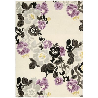 Wildflowers Ivory/Purple Area Rug Rug Size: 36 x 56