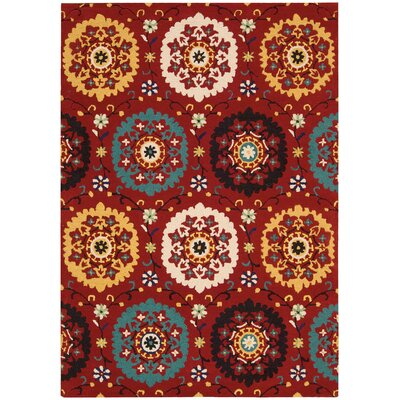 Suzani Hand-Tufted Red Area Rug Rug Size: 39 x 59