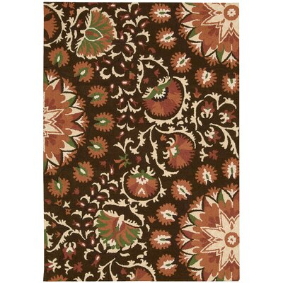 Suzani Hand-Tufted Brown Area Rug Rug Size: 53 x 75